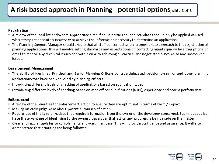 A risk based approach in Planning - potential options, slide 2 of 2 Registration