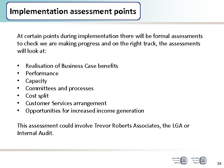 Implementation assessment points At certain points during implementation there will be formal assessments to