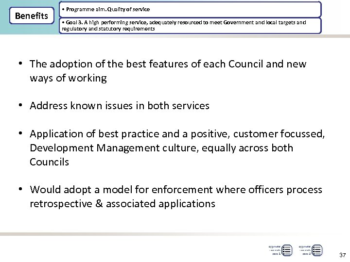 Benefits • Programme aim. Quality of service • Goal 3. A high performing service,