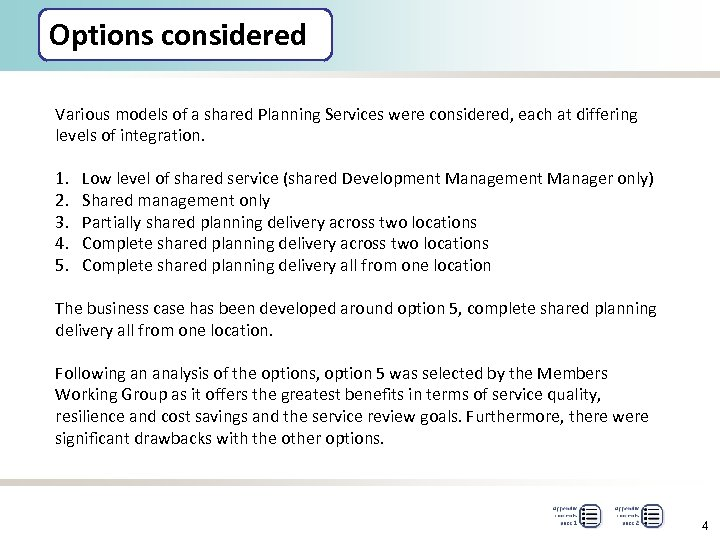 Options considered Various models of a shared Planning Services were considered, each at differing