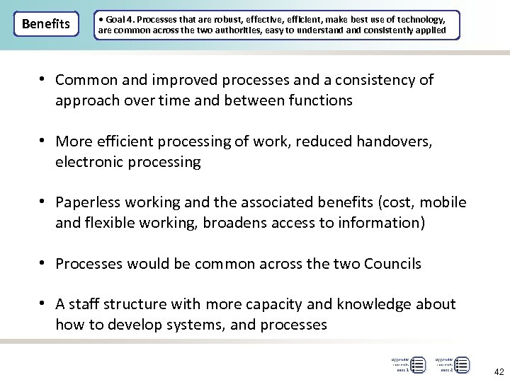 Benefits • Goal 4. Processes that are robust, effective, efficient, make best use of