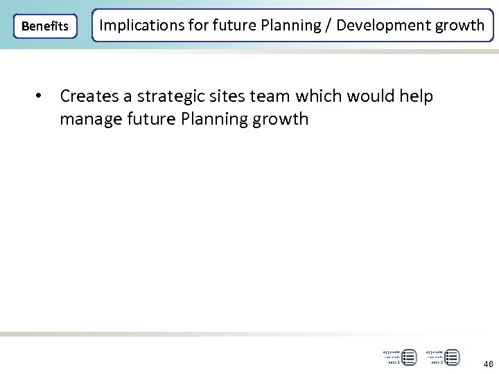 Benefits Implications for future Planning / Development growth • Creates a strategic sites team