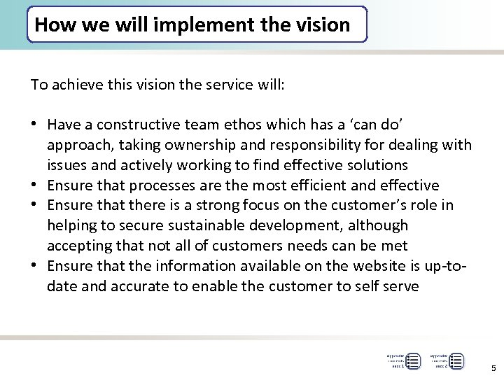 How we will implement the vision To achieve this vision the service will: •