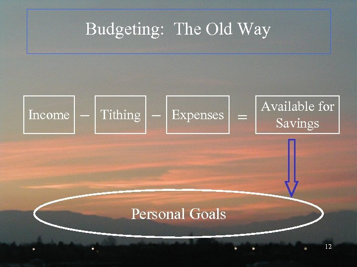 Budgeting: The Old Way Income Tithing Expenses Available for Savings Personal Goals 12