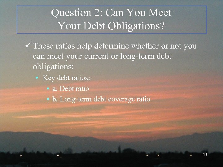 Question 2: Can You Meet Your Debt Obligations? ü These ratios help determine whether