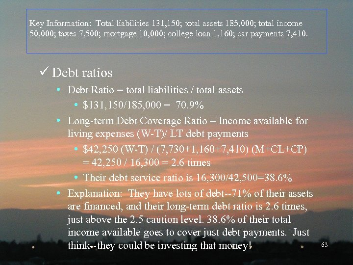 Key Information: Total liabilities 131, 150; total assets 185, 000; total income 50, 000;
