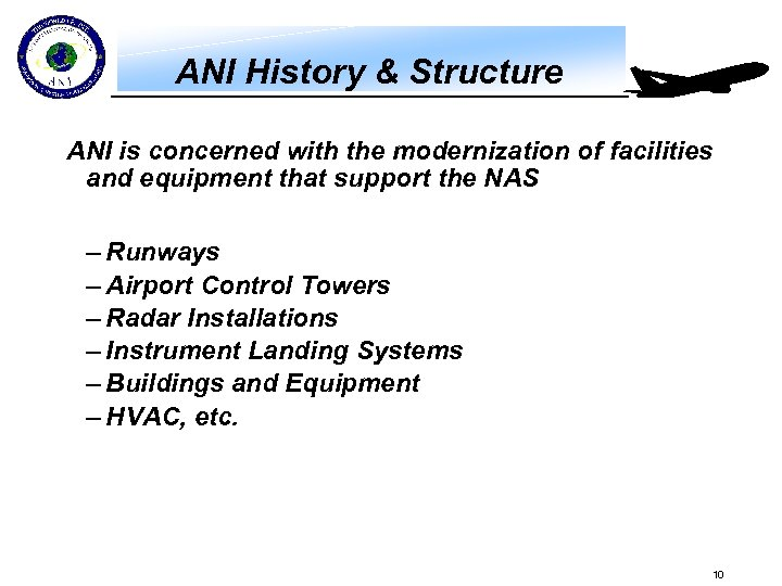 ANI History & Structure ANI is concerned with the modernization of facilities and equipment