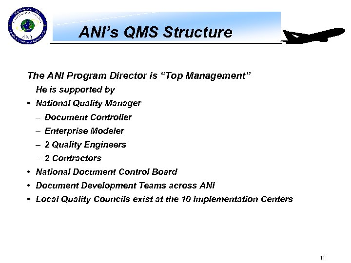 "ANI's QMS Structure The ANI Program Director is ""Top Management"" He is supported by"