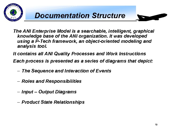 Documentation Structure The ANI Enterprise Model is a searchable, intelligent, graphical knowledge base of