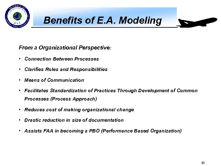 Benefits of E. A. Modeling From a Organizational Perspective: • Connection Between Processes •