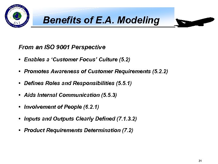 Benefits of E. A. Modeling From an ISO 9001 Perspective • Enables a 'Customer
