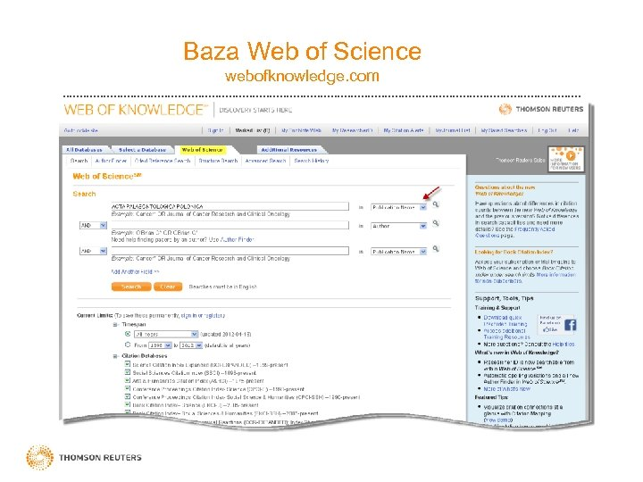 Baza Web of Science webofknowledge. com