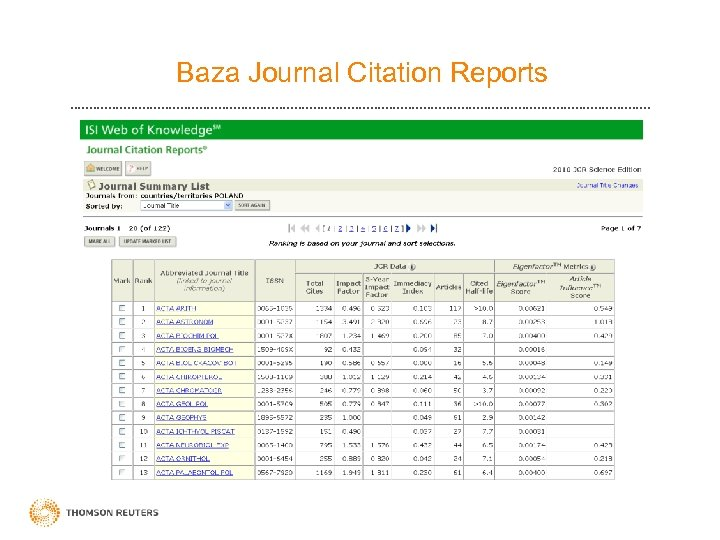 Baza Journal Citation Reports