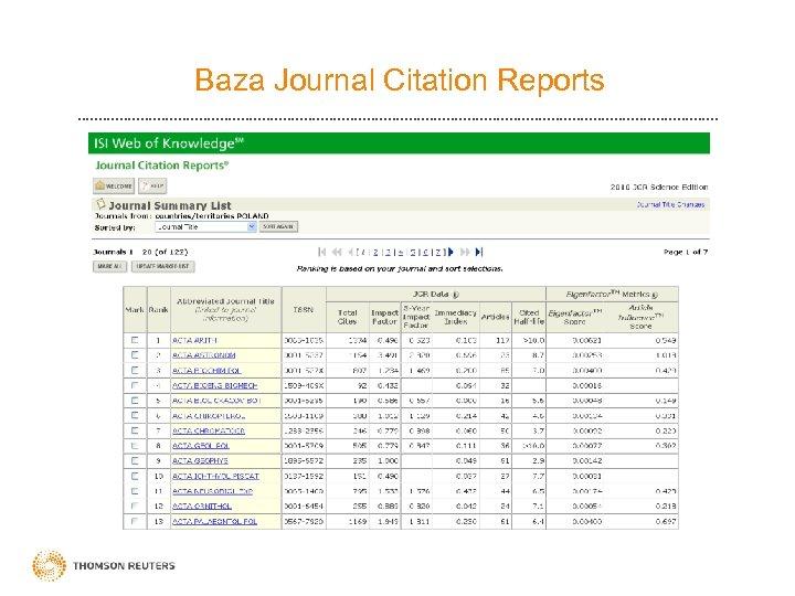 Baza Journal Citation Reports