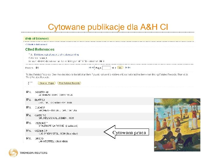 Cytowane publikacje dla A&H CI Cytowana praca