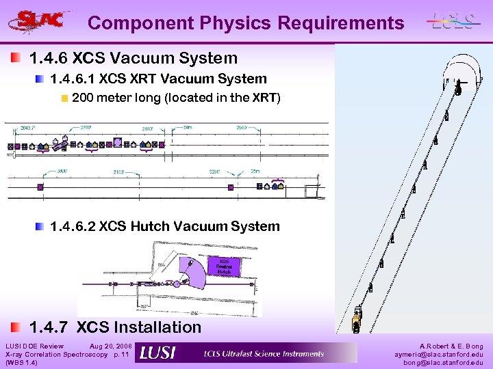 Component Physics Requirements 1. 4. 6 XCS Vacuum System 1. 4. 6. 1 XCS