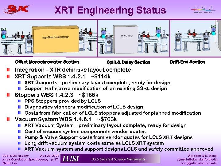 XRT Engineering Status Offset Monochromator Section Split & Delay Section Drift-End Section Integration –