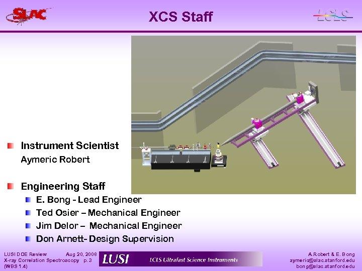 XCS Staff Instrument Scientist Aymeric Robert Engineering Staff E. Bong - Lead Engineer Ted