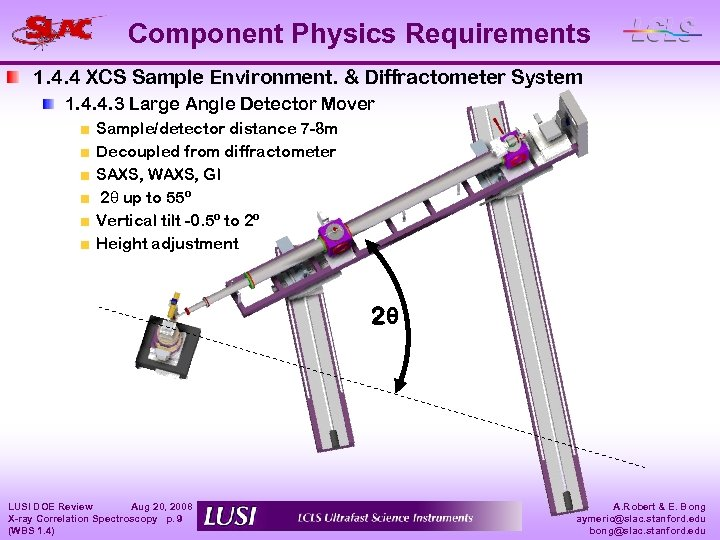 Component Physics Requirements 1. 4. 4 XCS Sample Environment. & Diffractometer System 1. 4.