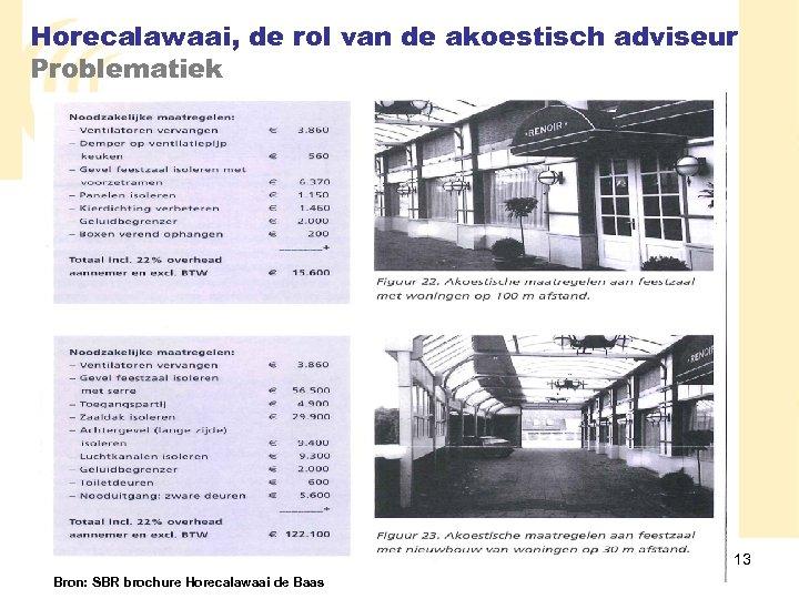 Horecalawaai, de rol van de akoestisch adviseur Problematiek 13 Bron: SBR brochure Horecalawaai de