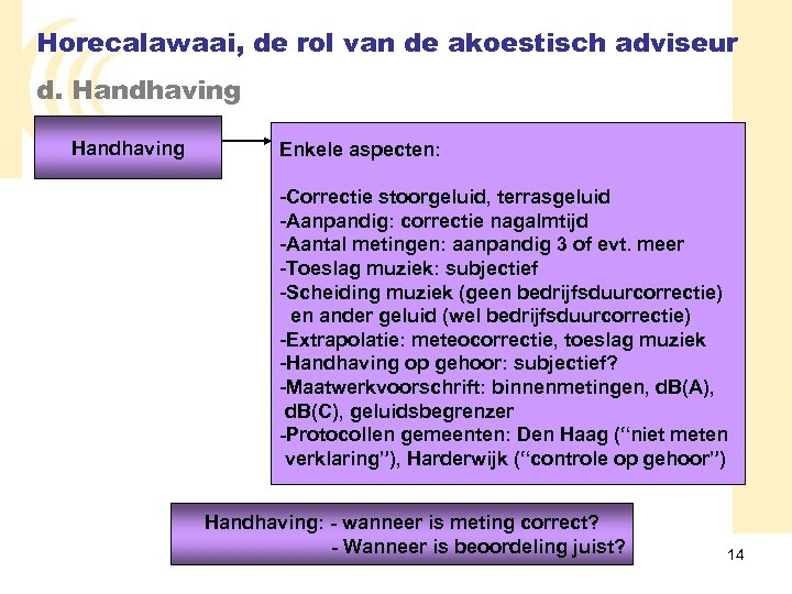 Horecalawaai, de rol van de akoestisch adviseur d. Handhaving Enkele aspecten: -Correctie stoorgeluid, terrasgeluid
