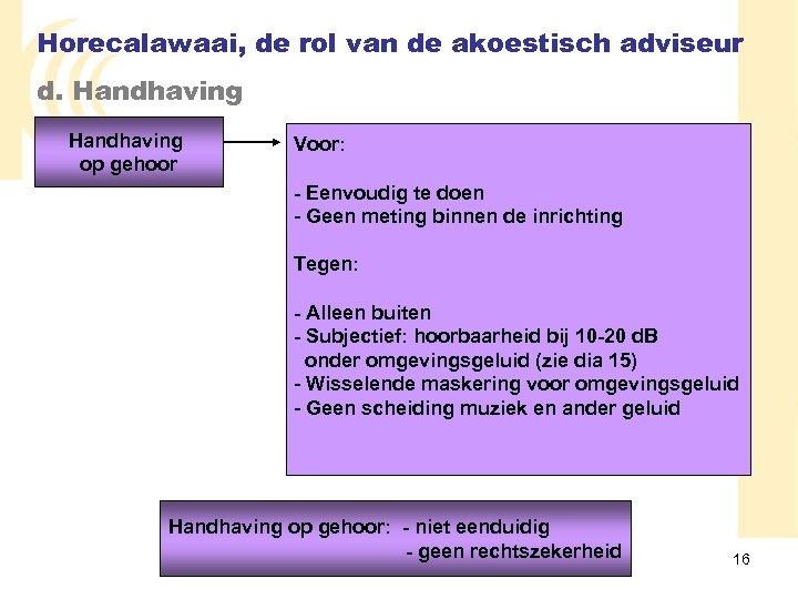 Horecalawaai, de rol van de akoestisch adviseur d. Handhaving op gehoor Voor: - Eenvoudig