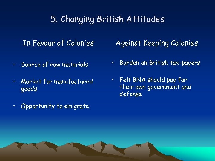 5. Changing British Attitudes In Favour of Colonies Against Keeping Colonies • Source of