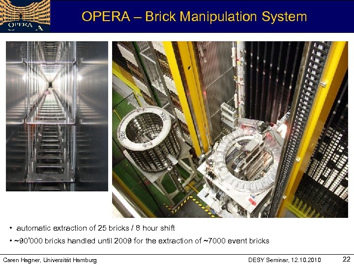 OPERA – Brick Manipulation System • automatic extraction of 25 bricks / 8 hour