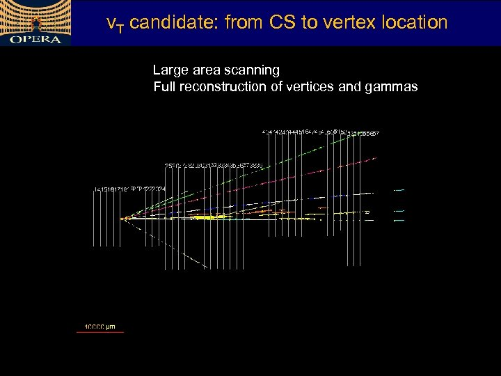 v. T candidate: from CS to vertex location Large area scanning Full reconstruction of