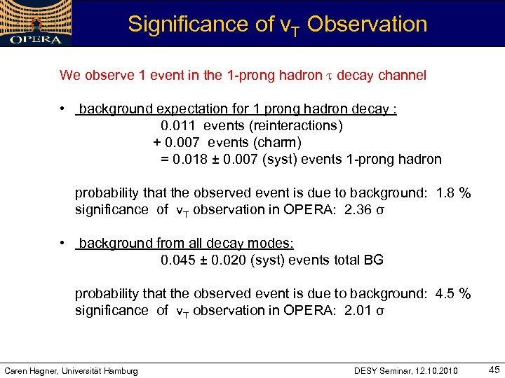 Significance of v. T Observation We observe 1 event in the 1 -prong hadron