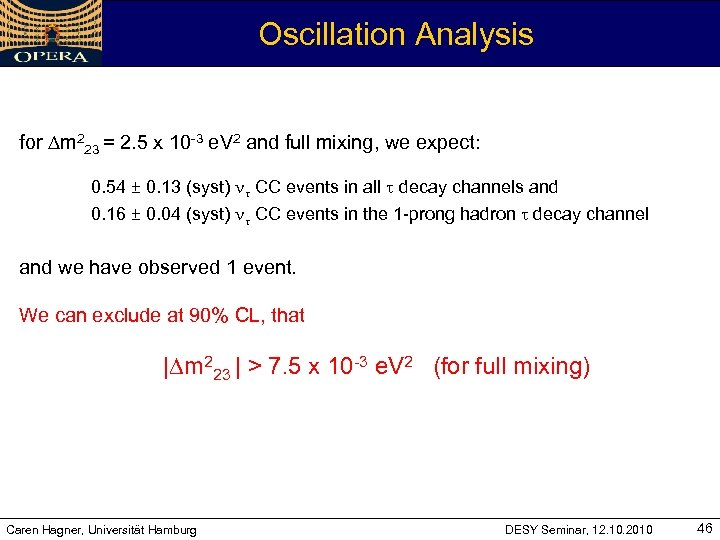 Oscillation Analysis for Dm 223 = 2. 5 x 10 -3 e. V 2