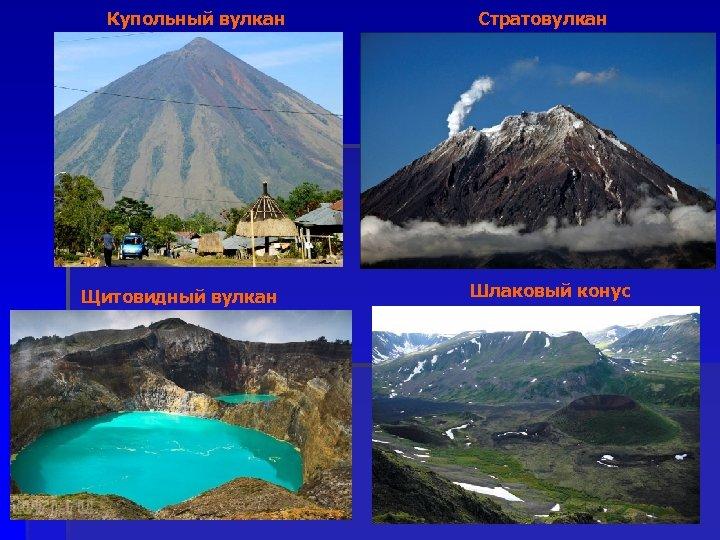 Купольный вулкан Щитовидный вулкан Стратовулкан Шлаковый конус