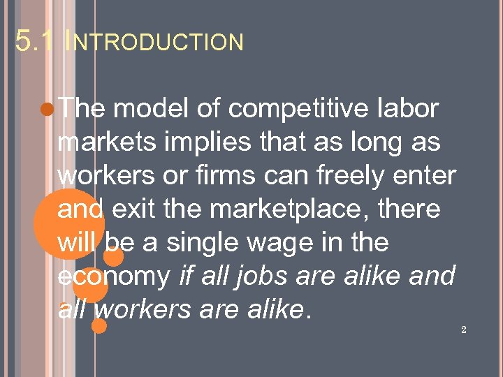 5. 1 INTRODUCTION l The model of competitive labor markets implies that as long