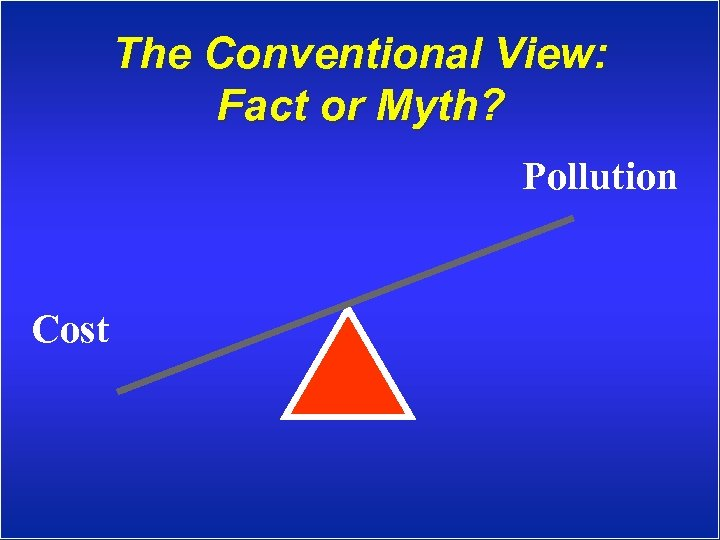 The Conventional View: Fact or Myth? Pollution Cost