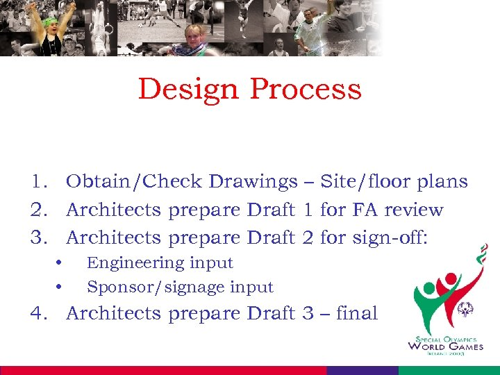 Design Process 1. Obtain/Check Drawings – Site/floor plans 2. Architects prepare Draft 1 for
