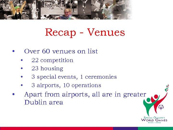Recap - Venues • Over 60 venues on list • • • 22 competition