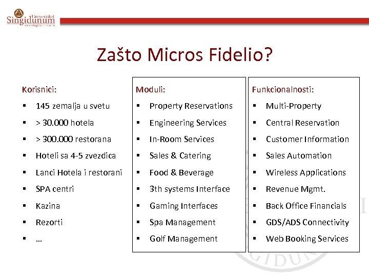 Zašto Micros Fidelio? Korisnici: Moduli: Funkcionalnosti: § 145 zemalja u svetu § Property Reservations