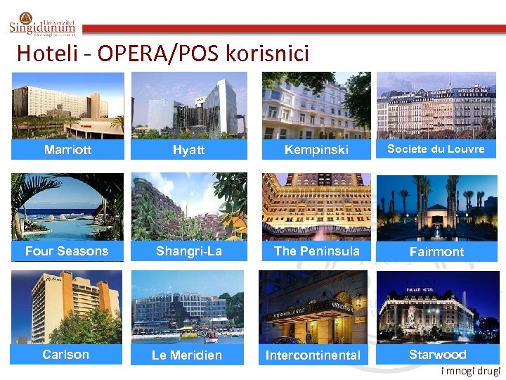 Hoteli - OPERA/POS korisnici Marriott Hyatt Kempinski Societe du Louvre Four Seasons Shangri-La The