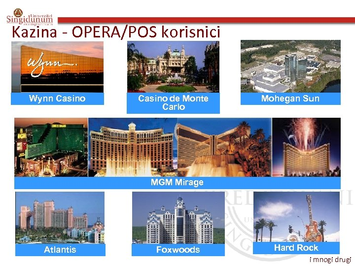 Kazina - OPERA/POS korisnici Wynn Casino de Monte Carlo Mohegan Sun MGM Mirage Atlantis