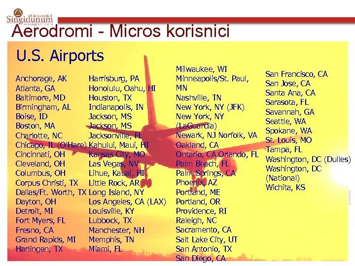 Aerodromi - Micros korisnici U. S. Airports Milwaukee, WI Minneapolis/St. Paul, Anchorage, AK Harrisburg,