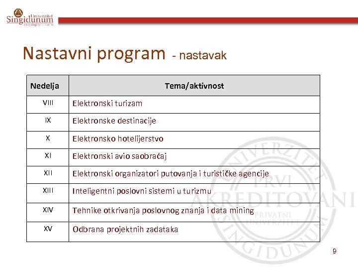 Nastavni program - nastavak Nedelja Tema/aktivnost VIII Elektronski turizam IX Elektronske destinacije X Elektronsko