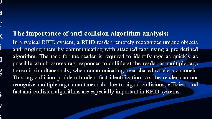 p a r k i n g s y The importance of anti-collision algorithm