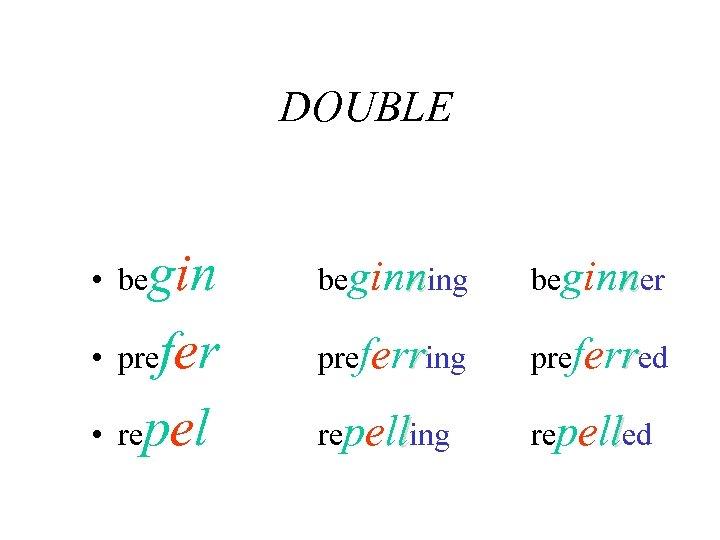 DOUBLE gin • prefer • repel • be beginning beginner preferring preferred repelling repelled