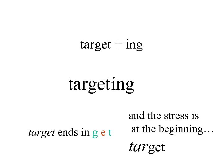 target + ing target ends in g e t and the stress is at