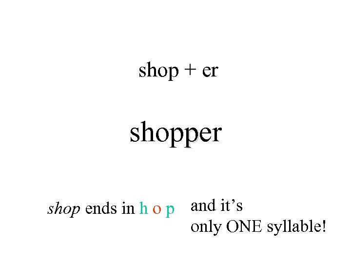 shop + er shopper shop ends in h o p and it's only ONE