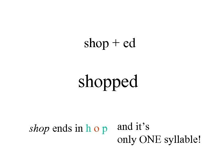 shop + ed shopped shop ends in h o p and it's only ONE