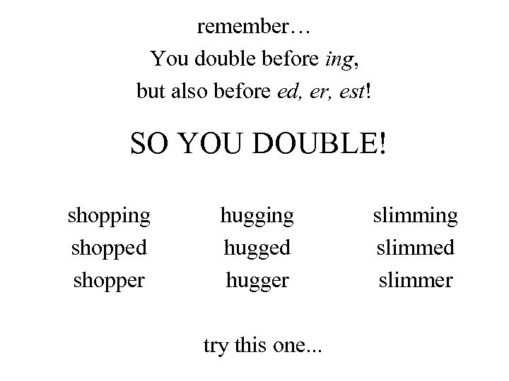 remember… You double before ing, but also before ed, er, est! SO YOU DOUBLE!