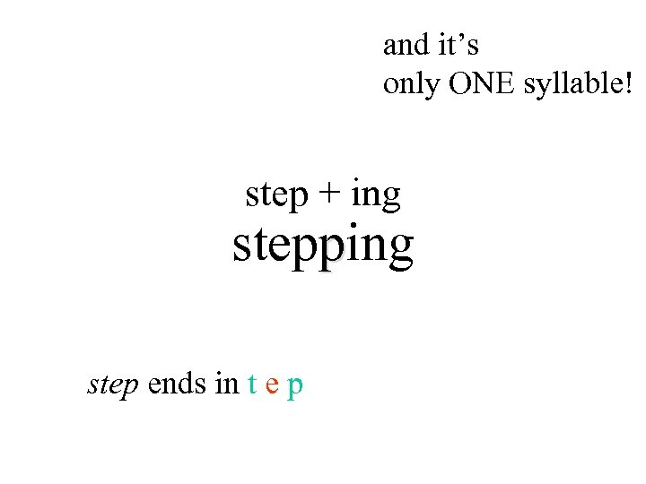and it's only ONE syllable! step + ing stepping step ends in t e