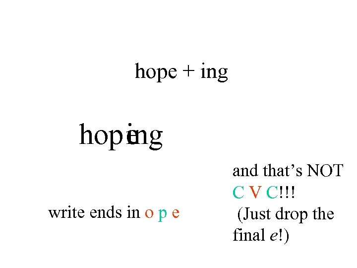 hope + ing hopeng i write ends in o p e and that's NOT