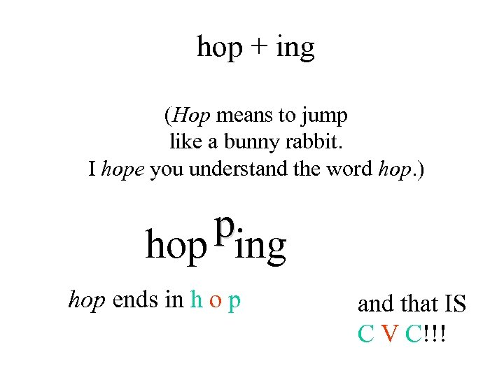 hop + ing (Hop means to jump like a bunny rabbit. I hope you
